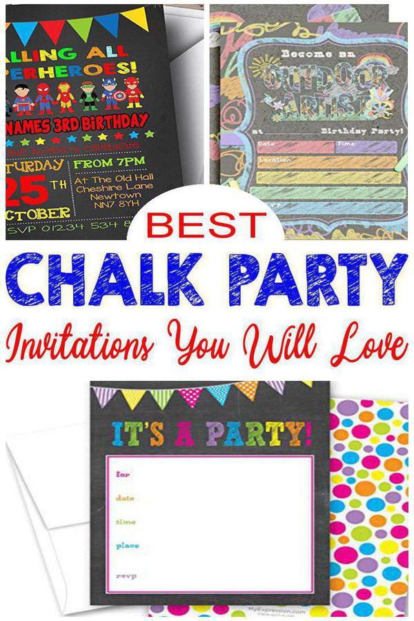 Chalk Girls Baking Childrens Birthday Party Invitations