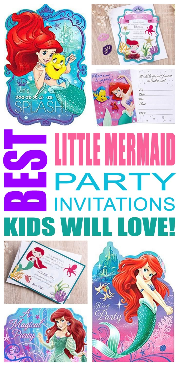 best little mermaid party invitations kids will love - Little Mermaid Party Invitations
