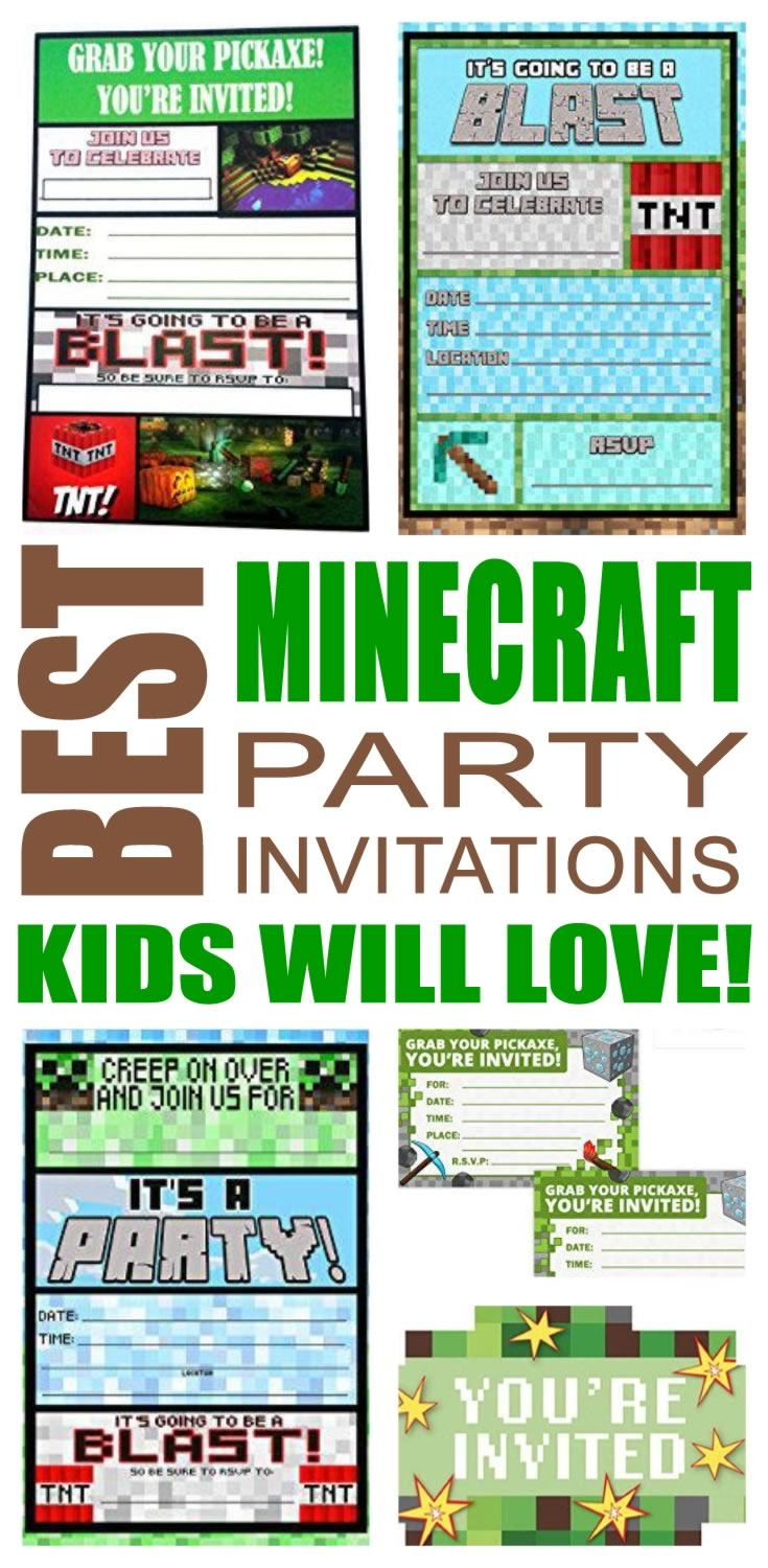 Minecraft Party Invitations Kids Will Love