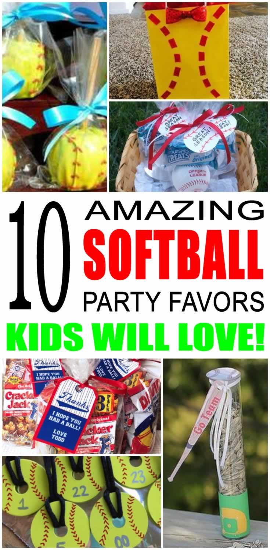 softball party favor ideas