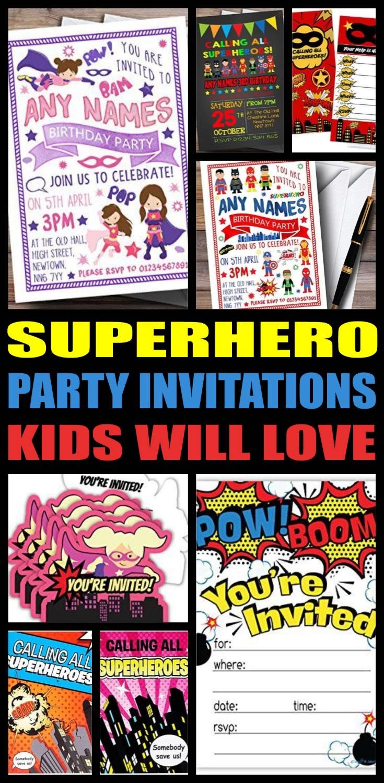 Hero Party Invitations
