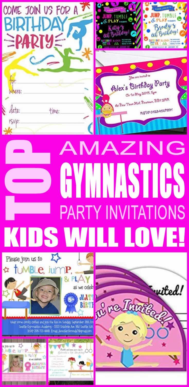 Gymnastics Party Invitations Kids Will Love
